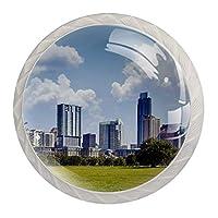 ドレッサー引き出し用キャビネットノブ4本ホームオフィス用キャビネットハンドルプル食器棚セントラルパークパノラマ高層ビル