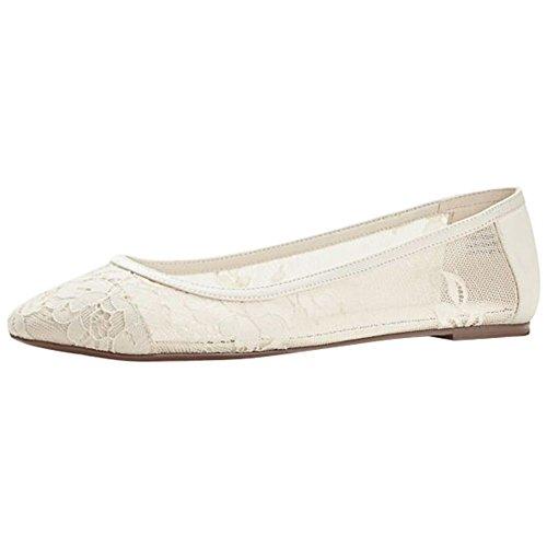 Melissa Sweet Lace Ballet Flat Style Laney, Ivory, 10
