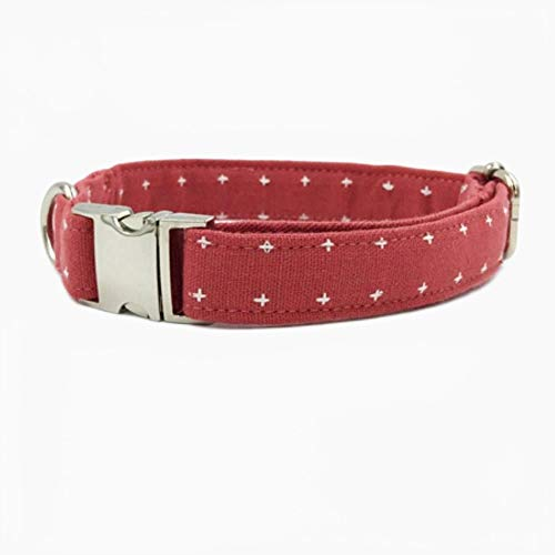 FANJIA Collar De Perro Collar Rojo Sandía Match Leash Personal Personalizado Ajustable Pet Puppy Cotton Dog & Cat Collar
