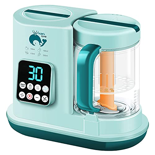 WHALELOVE Baby Food Maker 5 in 1 Baby Food Processor Blender Grinder Steamer Warmer Auto Cleaning Organic Healthy Multifunctional Mills Machine for Infants and Toddlers Purees
