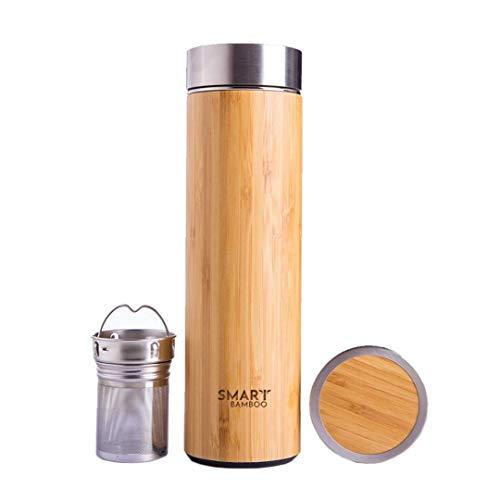 Botella de agua inteligente de bambú de acero inoxidable de 500 ml con aislamiento de doble pared para bebidas calientes y frías + infusor de té gratis