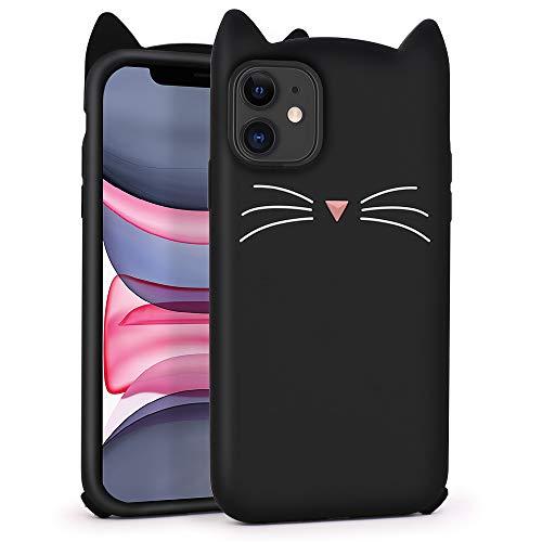 LIUKE Funda para iPhone 11 Linda, Animales Divertidos Orejas de Gato Bigote Negro Kitty 3D Cartoon Funda Suave de Silicona Antigolpes Cover Piel para Niñas Niños Mujeres