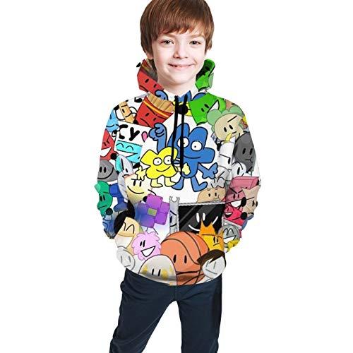 Battle for Bfdi Unisex Kids Hoodie Sweatshirts Fashion Long Sleeve Hooded Pullover Sportswear for Teen Youth Black