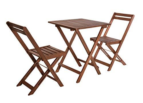 Bistroset Akazie - 2X Klappstuhl + Klapptisch - Holz Sitzgruppe Balkon Garten Möbel Set
