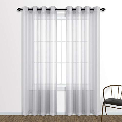 Silver Sheer Curtains 84 Inch Length for Living Room Set of 2 Panels Grommet Window Curtain Panels for Bedroom Silver Light Grey Dove Gray