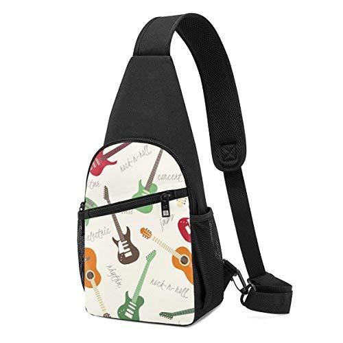 DJNGN Leichte Umhängetasche Bunte Cartoon-Gitarren Herren-Brustpackung Täglicher Gebrauch Beiläufige Tasche für Parks im Freien Einkaufsreisen