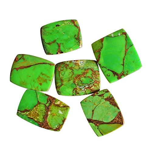 Cabujón rectangular de cobre verde natural, 6 piezas de cabujones de espalda plana, piedra turquesa para joyas, cobre liso, 24319