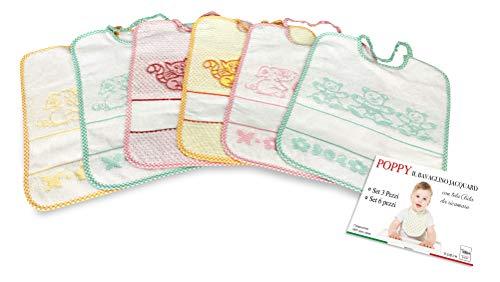 SET BAVAGLINI BAMBINA FEMMINA POPPY © cm. 24x30 bavaglio con elastico e tela AIDA - 6 PEZZI