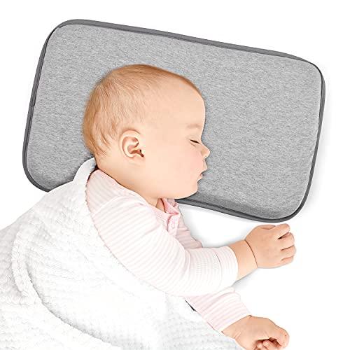 Babykissen Kinderbett Kissen zum Schlafen,GanKe Babykissen mit abnehmbarem Kissenbezug,Weiches Memory-Schaum-Kissen Kleinkind-Kisse (Tief grau)