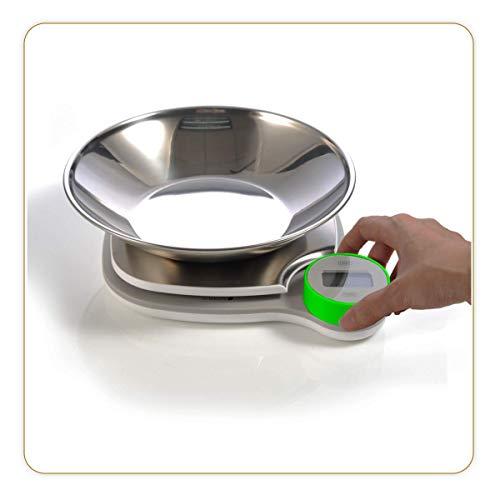 LITTLE BALANCE 8411 Kinetic XS Bol - Balance de cuisine sans pile - Ecologique grâce à son bouton Little Balance - 5 kg / 1 g - Plateau inox - Bol inox inclus