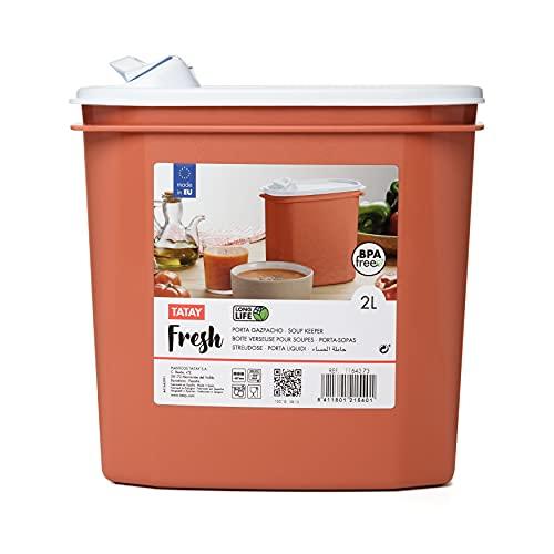 Tatay Porta Gazpacho y Alimentos Fresh, 2L de Capacidad, Libre de BPA, Apto Lavavajillas y Microondas, Color Naranja. 1 unidad Medidas 18,4 x 9,7 x 19 cm