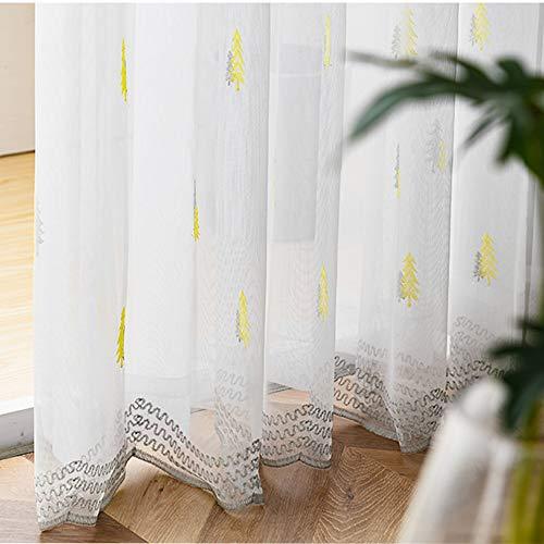 M&W DasDesign Cortina blanca transparente de tela con ojales para salón dormitorio moderno con árboles bordados, color gris crema, cortinas para el sol y la privacidad, 140 x 245 cm, blanco (1 unidad)