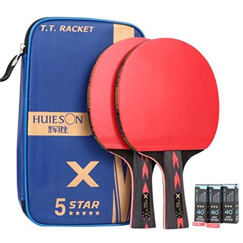 Weryffe Juego de ping pong multifunción con funda horizontal para entrenamiento de ping pong y dos raquetas para principiantes