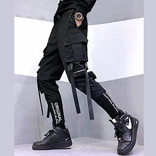 Moda Japonesa con Estilo Harajuku Streetwear Pantalones de Carga para Hombres Bolsos de Cinta Jogger Techwear Hombres Pantalones Hip Hop-Negro_S