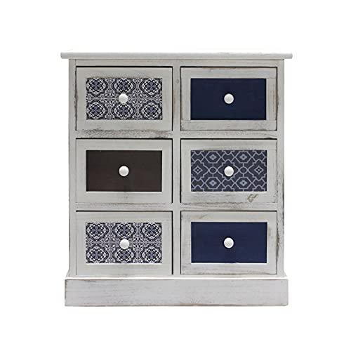Rebecca Mobili Comodino Cassettiera Bianco Grigio Azzurro Legno 6 Cassetti Shabby Cucina Soggiorno - 59,5 x 55,5 x 25 cm (H x L x P) - Art. RE6083