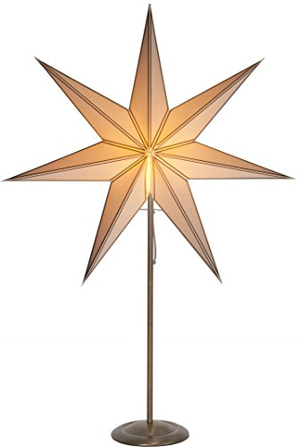 "Best Season 234-82 Standleuchte Stern""Nicolas"", messing antik/Metall, E14, beige, 16 x 60 x 88 cm"