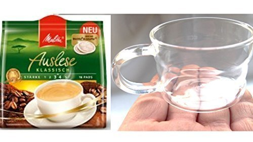 Melitta Café Auslese Pads klassisch + Design Glastasse, Kaffeetasse, Kaffee, Tasse, Glas, 200ml, 4er Pack im Geschenk Karton
