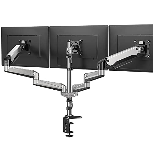 HUANUO Triple Monitor Stand - Full Motion Articulating Aluminum Gas Spring Monitor Mount Fit Three...