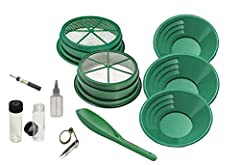 """Big 11 pc Mining Kit - Ready to help you get the GOLD!!! 2 Large Screens 1/2"""" & 1/8"""" Stackable on a 5 Gallon Bucket Large 14"""", 10"""" & 8"""" Green Gold Pans Gold Vial, Tweezers, Snuffer Bottle, Loupe & 12"""" Scoop"""