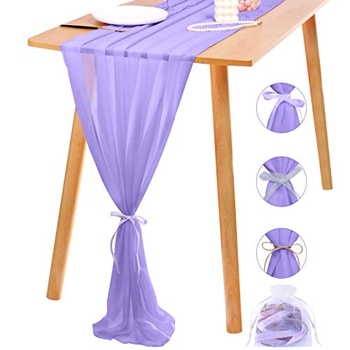 Ruisita Chiffon Table Runner 10ft Long Romantic Wedding Table Runner 28 x 120 Inch Lavender Chiffon Tulle Table Runner with Ribbon for Wedding Baby Shower Holiday Party