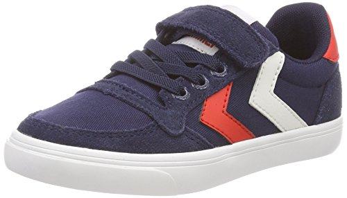 hummel Unisex-Kinder Slimmer Stadil Low JR Sneaker, Blau (Peacoat), 26 EU
