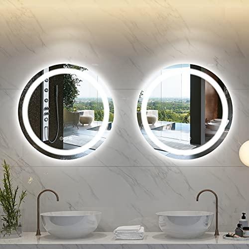 Amorho 50cm Redondo Espejo Baño Espejo de Pared Espejo Colgante Dormitorio Función Antivaho con Luz LED Interruptor Táctil 15 Temperatura...