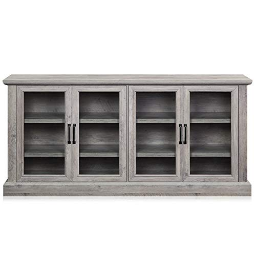 """BELLEZE Liam 70"""" Rustic Farmhouse Wood Sideboard Universal Stand 4 Doors Buffet Cabinet Living Room Glass Storage, Grey Wash"""