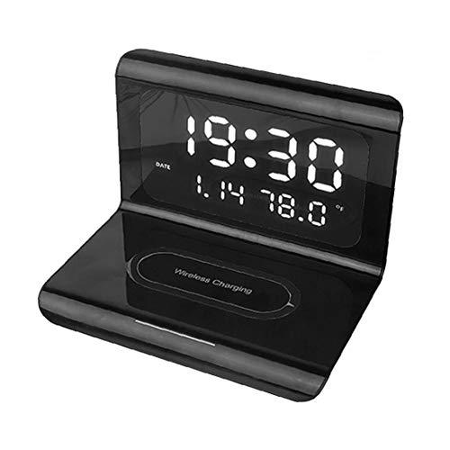 Odoukey Reloj Despertador sin Hilos LED del Cargador eléctrico Multifuncional de Tres-en-uno Teléfono estación de Carga del Reloj Soporte para teléfono Negro