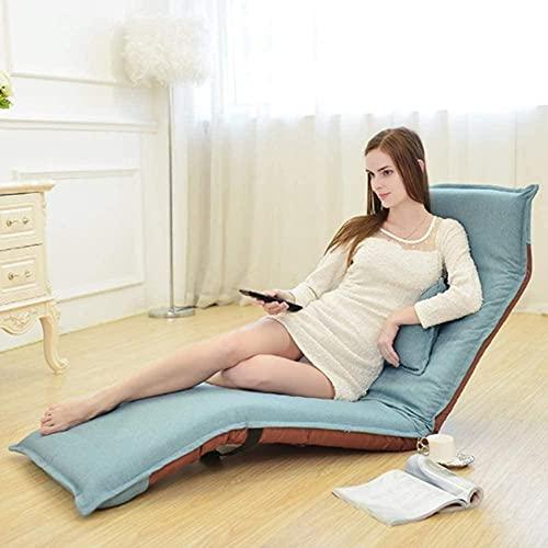 ZYQZYQ Verstellbares faules Sofa für Erwachsene und Kinder Lounge Badewanne Kamin mit Fußschemel Wohnzimmer Schlafzimmer Büro Moderner Stoff Sessel Ohrensessel Sofa Stuhl Möbel Gaming Sitzsackblau