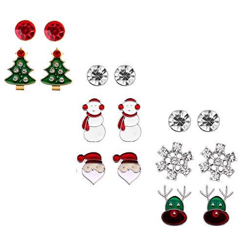 Christmas Stud Earring Set Gift - Pack of 8 Pairs Hypoallergenic Christmas Gift Jewelry for Women Girls Kids Teens Christmas Santa Claus, Deer, Snowmen, Green Christmas Tree Holiday Earrings