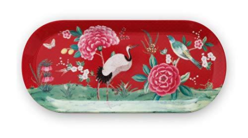 Pip Studio Tortenteller rechteckig Blushing Birds | rot - 33,3 x 15,5 cm
