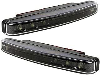 Carpartsinnovate For 6000K White 2x 8-LED Lights Black Fog Bumper Lamp Pair