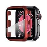 Wenearn Funda para Apple Watch Series 3/2/1 42mm, Cubierta Plástica + Protector Pantalla [Sin Burbujas] Protección Completo Anti-Rasguños Super HD Thin Fit Caja Duro con Vidrio Templado - Rojo