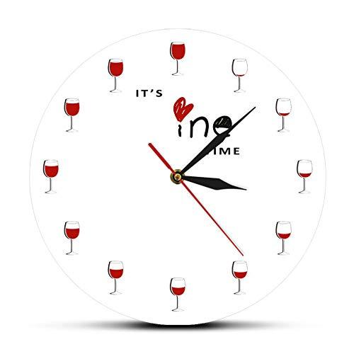 MXHJD-Es Hora del Vino Reloj de Pared Alcohol Copa de Vino Reloj de Vino Tinto Decorativo Reloj Reloj de Licor Restaurante Bebedor de Vino Reloj de Pared-No_Flame