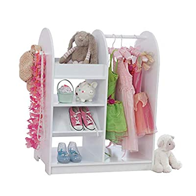 KidKraft Wooden Fashion Pretend Dress-Up Station Children's Furniture with Storage and Mirror - White, Gift for Ages 3+ from Kid Kraft