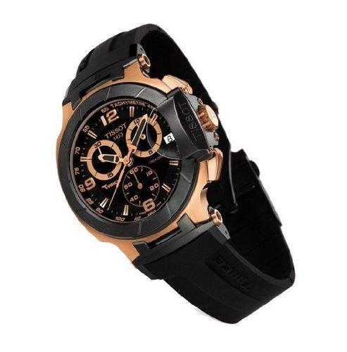 T-Race Reloj cronógrafo de goma para hombre, oro rosa, T0484172705706, color negro