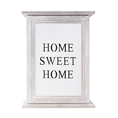 elbmöbel Schlüsselkasten Holz mit Fotorahmen Passepartout in weiß Weiss-grün Vintage Shabby-Chic aus Holz Landhaus (Weiß-Home Sweet Home, H29 x B22 x T8cm)