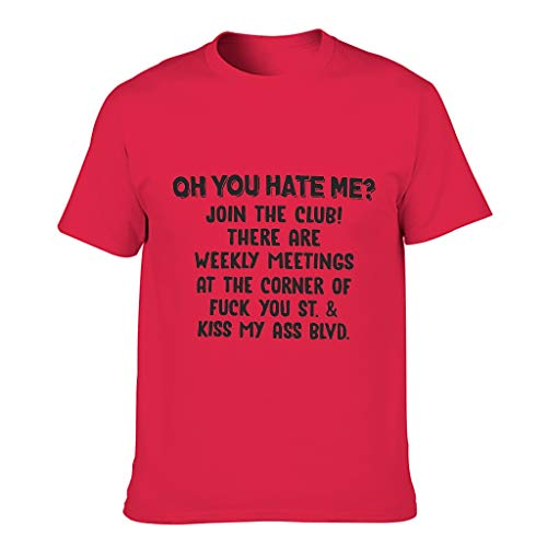 Ouniaodao Mens Hate Me Join The Club t-shirt in cotone - divertente umorismo classico Rosso 1 3XL