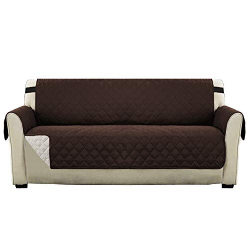 Reversible Sofa Cover Furniture Protector, Couch Covers for 3 Cushion Couch with Adjustable Elastic Straps, Seat Width Up to 66' Sofa Slipcovers for Pets and Kids(Sofa:Brown/Beige)