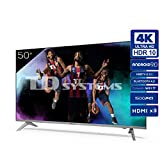 Televisiones Smart TV 50 Pulgadas 4k UHD Android 9.0 y HBBTV, 1500 PCI Hz, 3X HDMI, 2X USB....