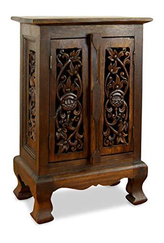 livasia Kleiner Massivholzschrank mit eleganter Blumenschnitzerei, Kommode der Marke Asia Wohnstudio, Nachtschrank