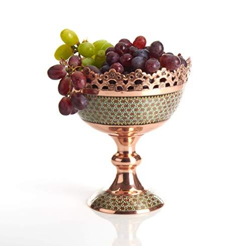 LPUK KHATAM - Ciotola per frutta, squisita marchetry persiano incisa in rame