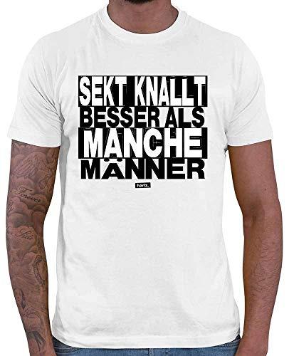 HARIZ Herren T-Shirt Sekt Knallt Besser Als Manche Männer Sprüche Schwarz Weiß Plus Geschenkkarten Weiß M