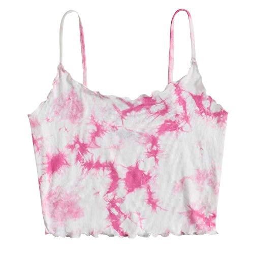 PLENTOP Womens V Neck Spaghetti Strap Tank Tops Sleeveless Shirts Loose Fit Pink