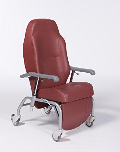 SILLON GERIATRICO MOD NORMANDIE color rojo, incluye kit opcional cuatro ruedas.Reclinable 45º.