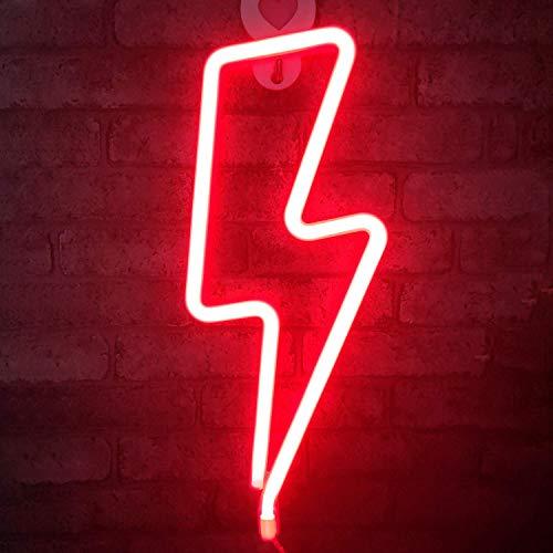 QiaoFei Nachtlicht, Form: Blitz, Deko-Licht für Kinder, Freunde, Geschenk rot