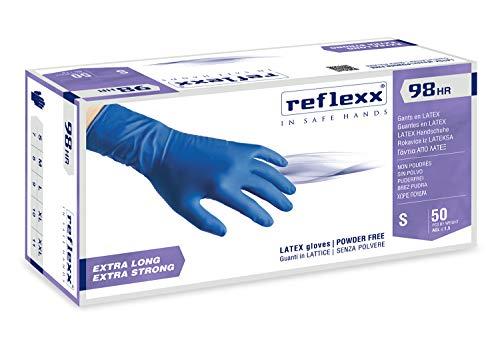 Reflexx R98, Guanti Hi-Risk in Lattice senza Polvere Gr. 18.5, 50 Pezzi, Blu
