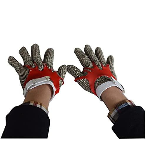 guantes anticortes Guantes Resistentes a los Cortados, Guantes de Malla de Metal de Acero Inoxidable, Carpintero de Carnicero con Sastre Guantes de Trabajo (Color : Model 2, Size : L)