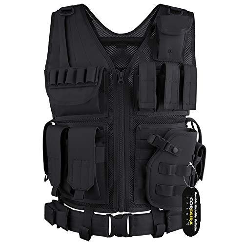 GLORYFIRE Tactical Vest Airsoft Tactical Vest 1000D Cordura Fabric Detachable Pistol Holster
