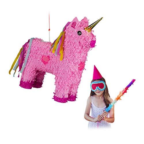 Relaxdays 10024662 Pinata Einhorn, zum Aufhängen, Kinder, Mädchen, Geburtstag, zum Befüllen, HxBxT: 47 x 43 x 13 cm, rosa-pink